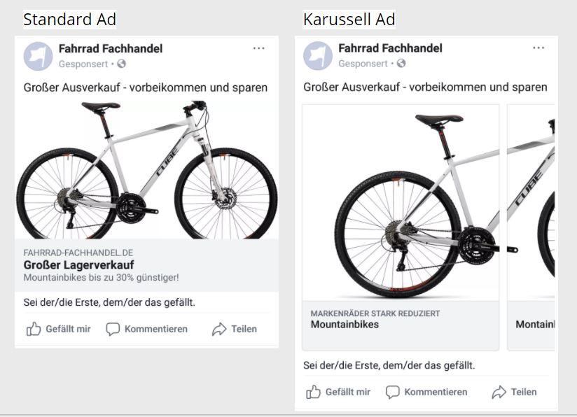 Facebook Ads Beispiel Standard Ad und Karussell Ad