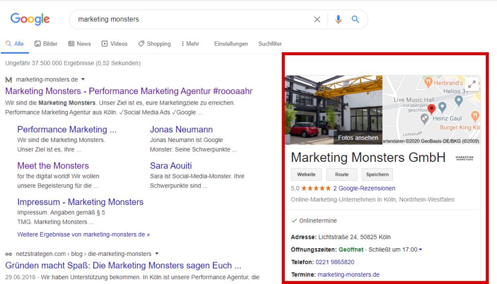 google my business beispiel 1