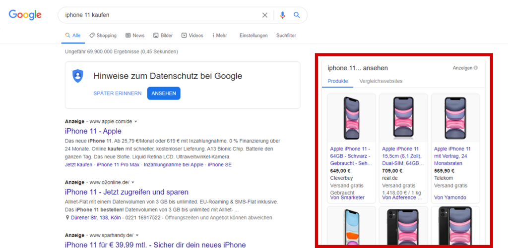 google shopping ads beispiel 1