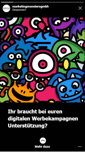 Anzeigebespiel Instagram Marketing Monsters