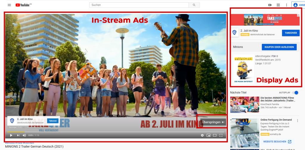 Anzeigenbeispiel YouTube Ads